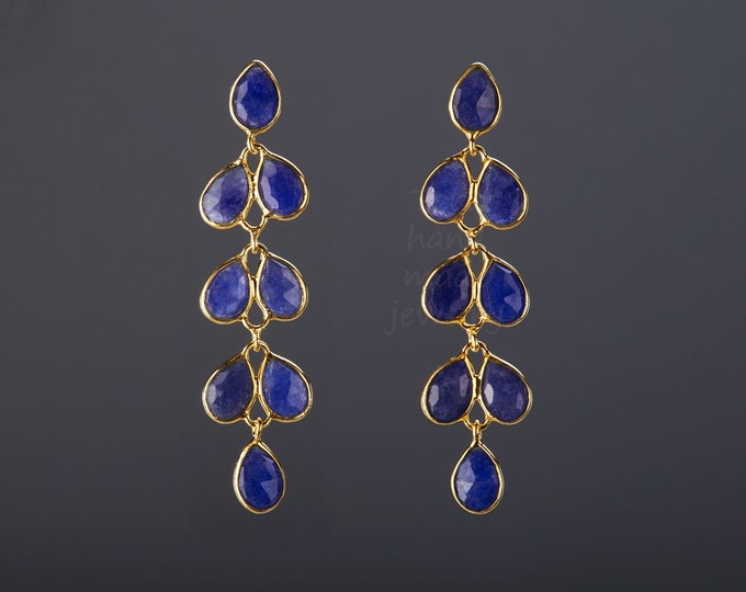 Five tier sapphire earring,Long dangle sapphire earring,sapphire leaflet string,Sept birthday earring,Mother's Day gift,anniversary gift