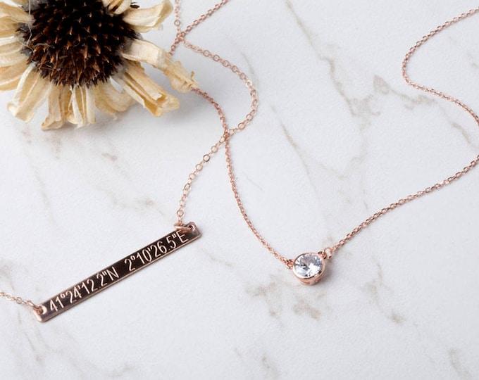 Rose gold engraving layered Tiny dot Bar necklace,Bar Monogram Necklace,GPS bar necklace,Coordinate bar necklace, name,date bar necklace