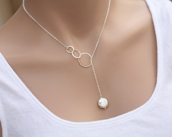 Karma necklace,Long layered circle necklace,karma coin pearl lariat Y necklace,Bridesmaid gifts,Wedding bridal jewelry