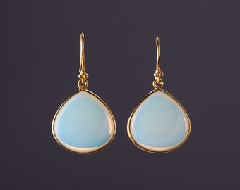 Gold Opalite dangle earrings,Large gemstone earring,pear shape stone,Large faced Opal earrings,October birthstone,birthday gift,anniversary