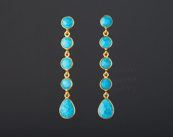 Five tier turquoise earrings,long dangle turquoise,round turquoise string,chained turquoise earring,Dec birthday gift,Mother's Day gift