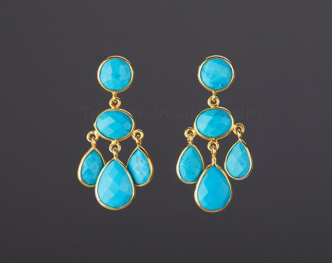 Three tier turquoise earring,turquoise chandelier earring,dangle swing turquoise earring,Dec birthday gift,mother gift,anniversary gift