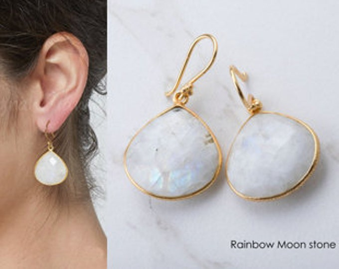 Gold rainbow moonstone dangle earrings,Large gemstone earrings,Large faced moonstone earrings,July birthstone,birthday gift,