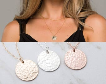 Long Layered hammered karma disc 14k Gold necklace,Hammered disc necklace, Gold Large round tag .Delicate everyday necklace