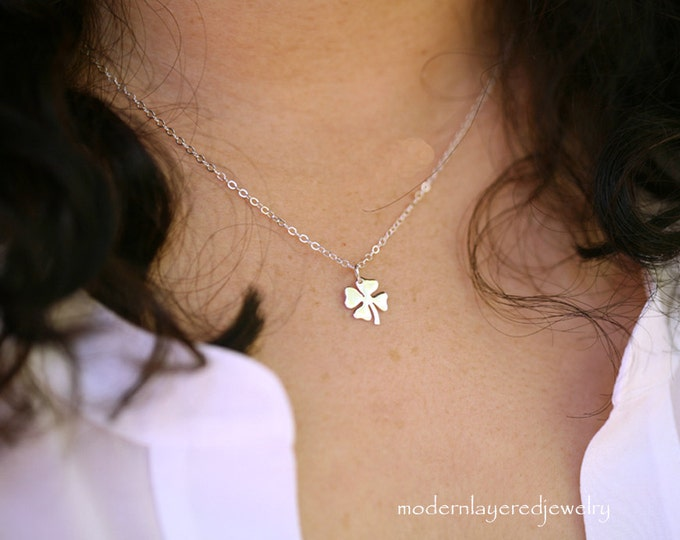 Lucky necklace,Tiny Sterling silver Four leaf clover,Teacher gift,Graduation,Good Luck, Shamrock