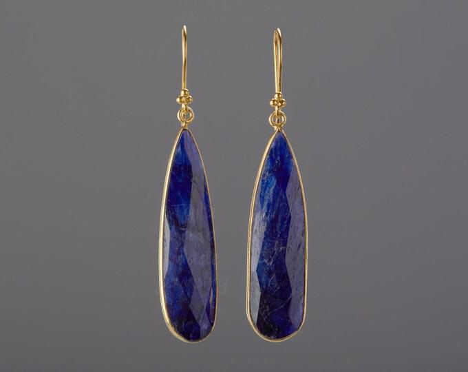 Long sapphire earrings,real nature sapphire earrings,sapphire September birthday earring,mother gift,anniversary gift,custom jewelry card