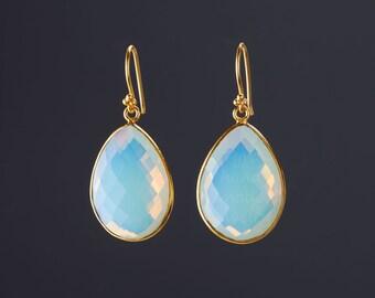 Gold Opal dangle earrings,Large gemstone earrings,Silver,Gold,Large faced Opal earrings,October birthstone