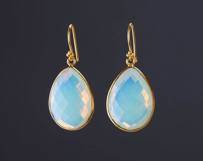 Gold Opal dangle earrings,Large gemstone earrings,Silver,Gold,Large faced Opal earrings,October birthstone