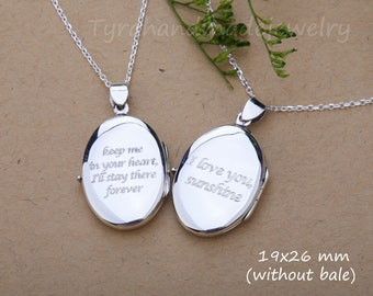 Engraved sterling silver locket,Oval photo Locket necklace,memorial remembrance locket,Memory locket,anniversary gift,Valentine's day gift