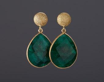 Large emerald earrings,Two tone earring,pear emerald earrings,Large faceted natural emerald,birthday gift,mother gift,custom jewelry card