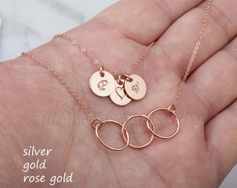 Rose gold Double layered circle initial disc necklace,Karma layered necklace,Personalized karma necklace,Best friend gift,sisterhood gift