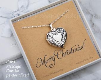 Sterling silver heart photo locket,Antique Victorian heart locket,vine border,memorial necklace,Valentine girlfriend gift,custom note card