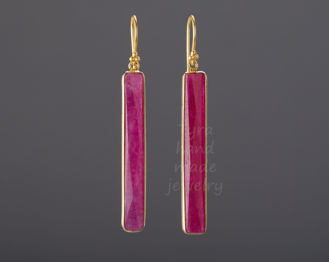 Long  bar Ruby earring,long strip ruby earring,real ruby earring,Large faceted ruby earring,birthday gift,mother gift,custom jewelry card