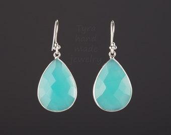 Large Aqua blue chalcedony earring,gemstone earring,pear shape bezel,faceted chalcedony,anniversary gift,baach wedding earring,mother gift