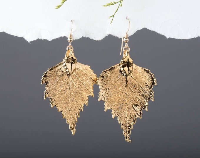 Baby real birch leaf earrings 24k gold or sterling silver ,mothers gift,birthday,bridesmaid gifts,fall winter wedding,autumn,bridal jewelry