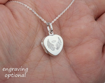 Engraved tiny heart locket Necklace with photo,sterling silver baby locket,memorial remembrance locket,mother daughter gift,family loss gift