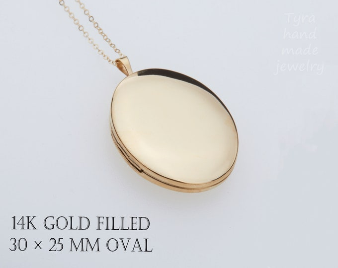 Extra large 14K Gold Filled oval photo locket,custom engrave,remembrance locket,Memory locket,bereavement gift,anniversary gift,Mother gift