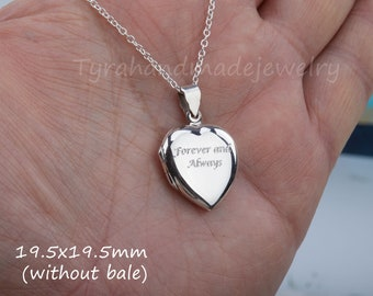 Engraved heart photo locket,silver/gold/Rose gold,Custom quote engraving,memorial necklace,Name locket,Valentine girlfriend gift