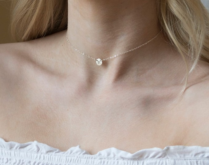 Personalized initial choker necklace,Tiny dot initial discs,Everyday initial Tag necklace,Bridesmaid gifts,silver/gold/rose gold