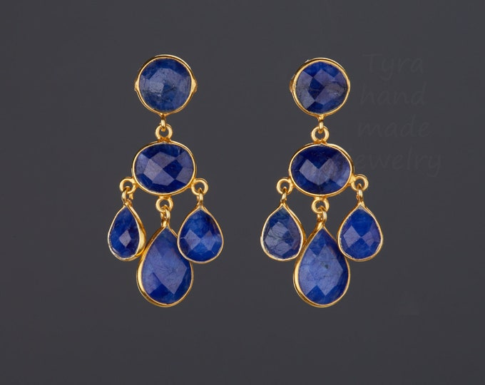three tier sapphire earrings,sapphire chandelier earring,Blue party earring,drop swing earring,Sept birthday gift,mother gift,sister gift