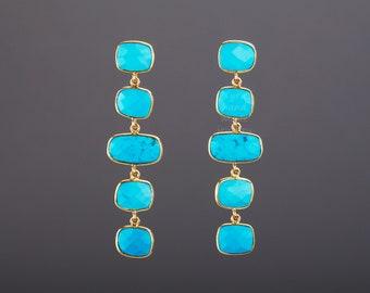 Five tier turquoise earrings,long dangle turquoise,square turquoise string,chained turquoise earring,birthday gift,mother gift,custom note