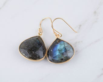 Gold labradorite earrings,Large gemestone earrings,Large faced  labradorite earrings