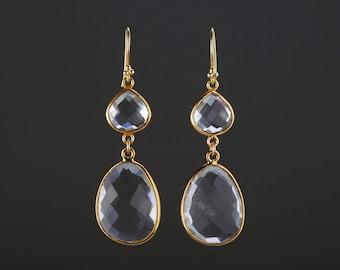 Two tier large clear quartz earrings,long dangle quartz earrings,faceted long drop quartz,birthday earrings,mother gift,sister earrings