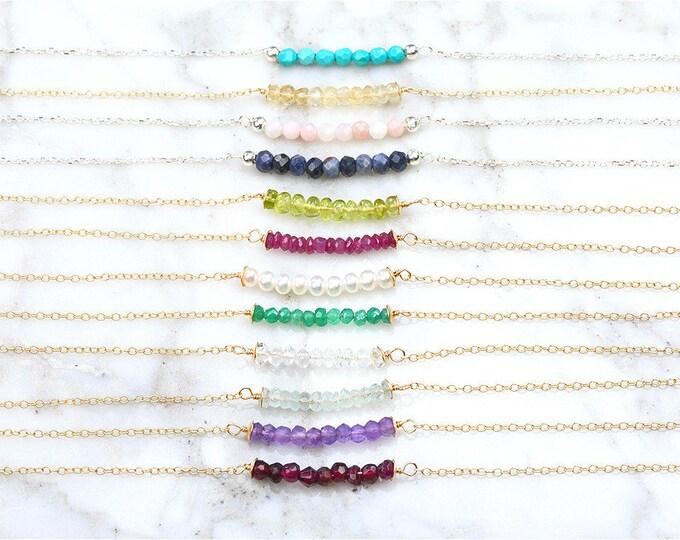 Gemstone bar necklace,Silver/gold/rose gold/Gemstone Necklace,Birthstone Necklace , Tiny Gemstone Necklace