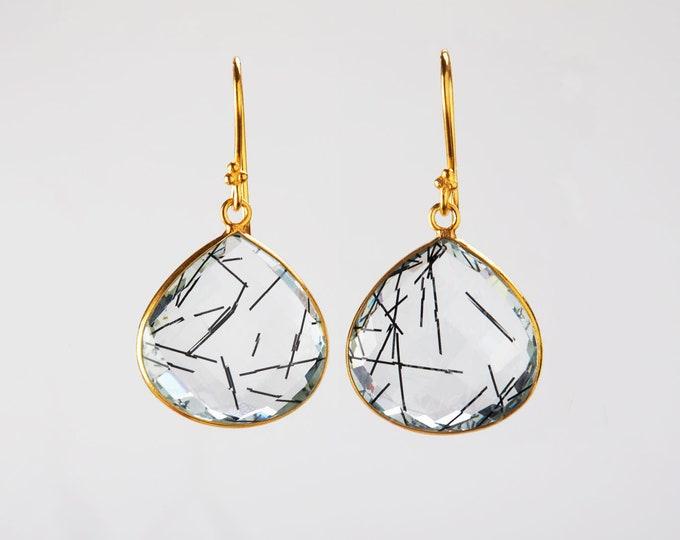 Large Natural Black Rutile quartz earring,big teardrop gemstone,Tourmaline quartz earring,large real gemstone,anniversary gift,birthday gift