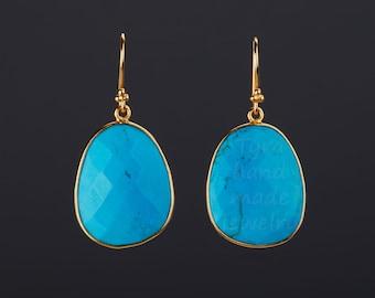 Large turquoise earrings,gemstone earring,egg stone earrings,Large faceted turquoise earring,Dec birthday gift,mother gift,custom note card