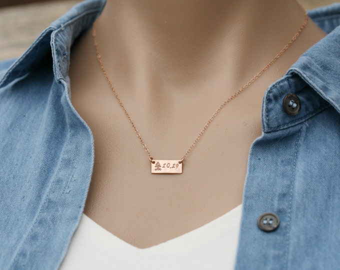 Personalized short bar necklace,custom engraving,small initial bar,Silver Gold Rose gold,engraved monogram tag Bar,custom jewelry note