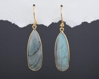 Large Labradorite Gemstone Earrings | Gemstone Hoop Earrings | Custom Labradorite Earrings | Contemporary Semi-Precious Stone