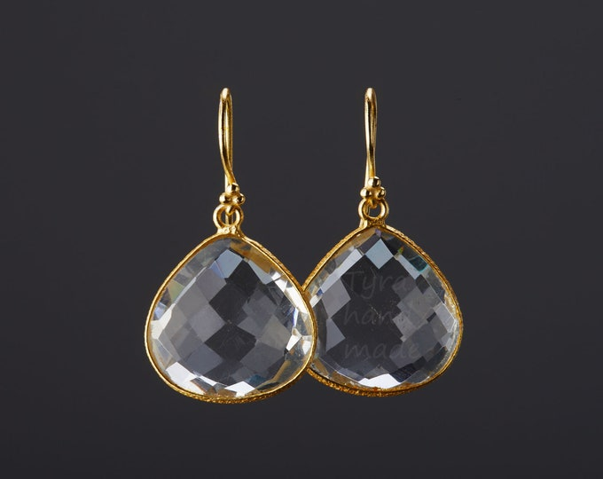 Gold clear crystal earrings,Large gemestone earrings,Silver,Gold,Large faced crystal earrings