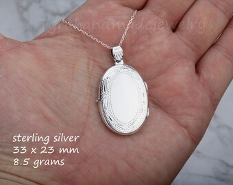 Large Engraved oval locket,sterling silver locket,Custom quote locket,Name locket,Memory photo locket,Valentine's day gift,anniversary gift