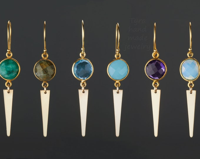 Two tier gemstone earring,Long gold triangle pendant earring,faceted natural gemstone,geometric earring,birthday gift,mother's day gift