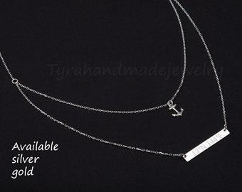 Double layer anchor bar necklace,engraved bar necklace,hope strength anchor,engraved name date place bar,Roman numeral bar,anniversary gift