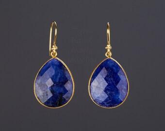 Large sapphire earrings,pear or heart sapphire,teardrop sapphire,Deep blue sapphire,blue dress earring,Sept birthday gift,Mother's Day gift