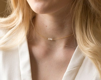 Dainty freshwater pearl bar choker necklace, Dainty Choker, Bridesmaid Gift,Turquoise necklace,Gemstone birthstone necklace