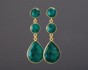 Three emerald stone earring,Large emerald earring,teardrop earring,Long emerald dangle drop earring,birthday gift,mother gift,custom note