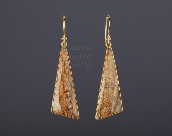Large triangle jasper earrings,long scalene jasper,real gemstone earrings,faceted jasper stone,birthday gift,mother gift,custom note card