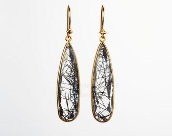 Large Black Rutile quartz earring,long drop tourmaline quartz earring,real nature gemstone,anniversary gift,birthday gift,best friend gift
