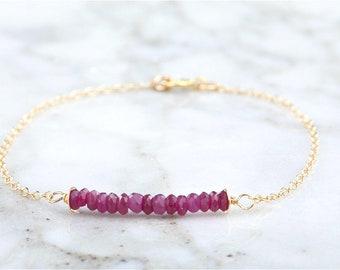 Silver/Gold Ruby bar bracelet,July birthstone bracelet,Minimal bar bracelet, gemstone bar bracelet, minimal bracelet
