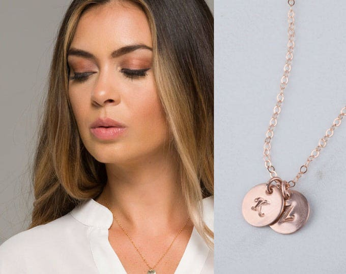 Personalized Gold initial necklace,dot initial discs,Everyday initial Tag necklace,Bridesmaid gifts,initial tag necklace,Monogram pendant