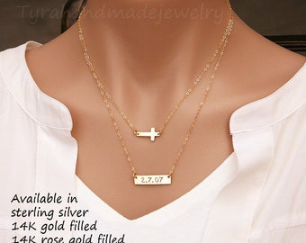 Personalized double layer cross Bar necklace,Initial Bar Necklace,Sideways Cross bar necklace,engraved name,date,roman numerals,coordinates