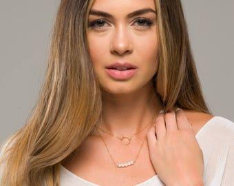 Short Pearl bar karma layered necklace,Double layered karma necklace,Bridesmaid Gift,Turquoise necklace,Gemstone birthstone necklace