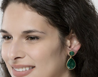 Large emerald earrings,Two gemstone earring,teardrop earrings,Large faceted emerald earring,birthday gift,mother gift,custom note card