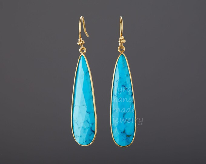 Long turquoise earrings,large faceted nature stone earring,long dangle teardrop earring,December birthday gift,mother gift,custom note card