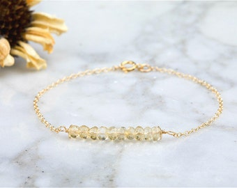 Silver/Gold Citrine bar bracelet,November birthstone bracelet,Minimal bar bracelet, gemstone bar bracelet, minimal bracelet