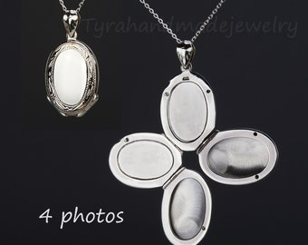 Four photos sterling silver locket,Custom engrave memorial oval locket,anniversary gift,remembrance photo locket,Valentine's day,mother gift