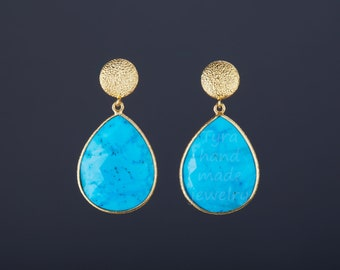 Large turquoise earrings,Two tier earring,textured gold dot post,pear cut turquoise earring,Dec birthday gift,mother gift